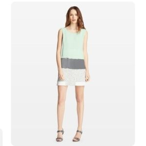 Elie Tahari Mint & Gray Asher Silk Colorblock Tank